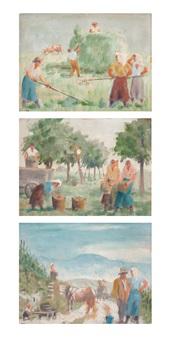 entwürfe zu erntebildern (3 works) by emil bizer