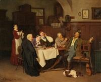 fröhliche gesellschaft im wirtshaus by hermann volz