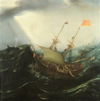 walfangschiff auf stürmischer see by hendrik cornelisz vroom