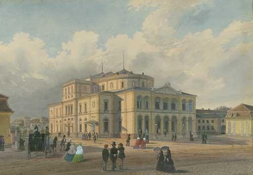 großherzogliches hoftheater karlsruhe im hintergrund die orangerie by caspar obach