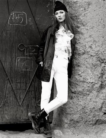 kate moss modelling fashion in marrakesh (2 works) by albert watson