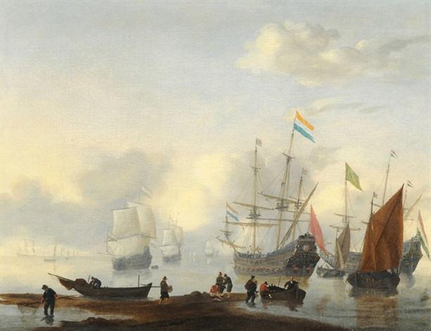 segelschiffe vor anker bei amsterdam mit fischer auf schmaler landzunge im vordergrund by reinier nooms