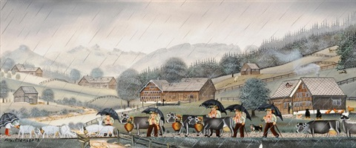 alpfahrt im regen by albert manser