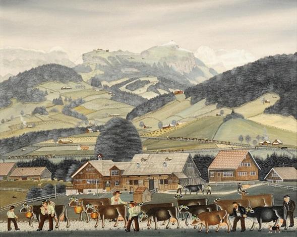 heimkehr von der viehschau in appenzell by albert manser