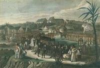 napoleon's leichenbegängniß auf der insel st. helena am 5ten may 1821 (les obseques de napoleon...) , pl. 42 (from napoleonische schlachten after marryat) by johann lorenz rugendas
