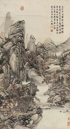 云崖锦树图 (cloudy cliff waterfall and riverside village) by zhang zongcang