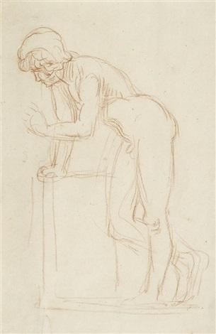 sich aufstützender nackter jüngling narziss sitzenden sketch verso by hans von marees