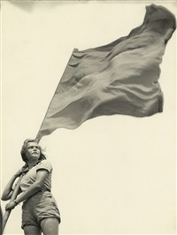 girl with flag (+ 2 others; 3 works) by walter zadek
