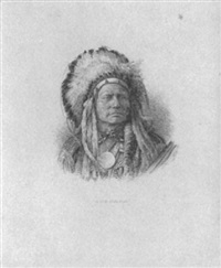 bust view of oncpapa indian chief by george frederick cumming smillie
