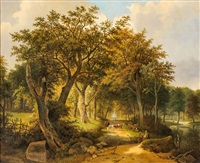 flusslandschaft by marinus adrianus koekkoek the elder