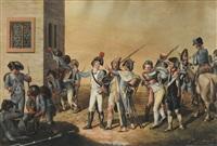 kaiserliche von bleuler bei der rheinbrüke schafhausen (+ marodierende trupper bei schaffhausen; pair) by johann heinrich bleuler the elder