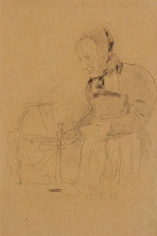 alte bäuerin beim wollhaspeln by albert anker