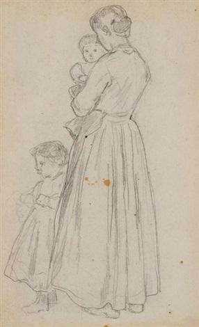 mutter mit ihren beiden kindern interieur verso by albert anker