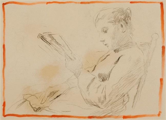 rauchender alter mann sitzende lesende junge frau verso by albert anker