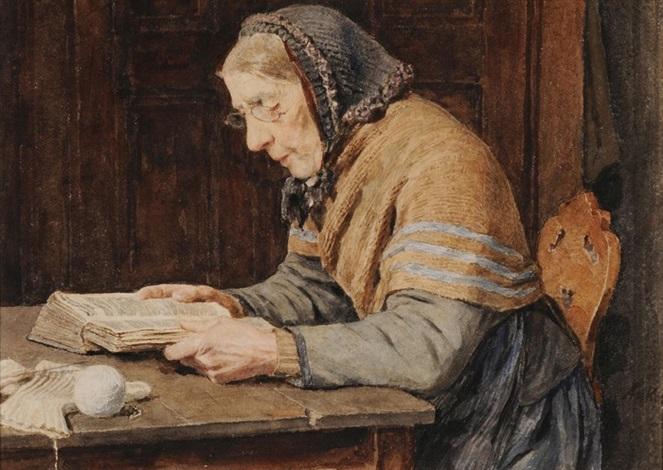 bäuerin beim lesen eines buches by albert anker