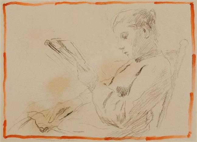 rauchender alter mann und sitzende lesende junge frau charcoal verso by albert anker