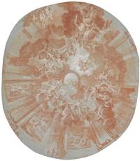 aufnahme des aeneas in den olymp und der sturz der titanen (hauptbild; in den kompartimenten szenen der aeneas-geschichte) by luca antonio colomba