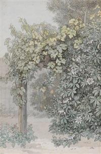 im garten der villa malta in rom by ludwig (georg l.) vogel
