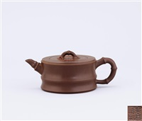 round bamboo shaped teapot by ji yishun