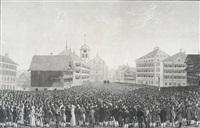 die landsgemeinde in trogen canton appenzell v.r. am 24. aprill 1814 besucht von jhro exellenz dem russisch-kaiserlichen minister, grafen von capo d'jstria... by johann jakob mock