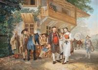 hallauer gesellschaft vor einem bauernhaus by joseph simon volmar