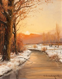 winterliche landschaft am niederrhein mit bachlauf by gernot rasenberger