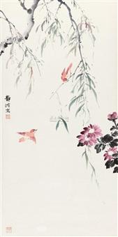 柳菊红雀图 (cardinals) by lei jingbo