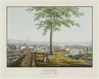 vue de zürich, prise de la bastion katze by conrad caspar rordorf