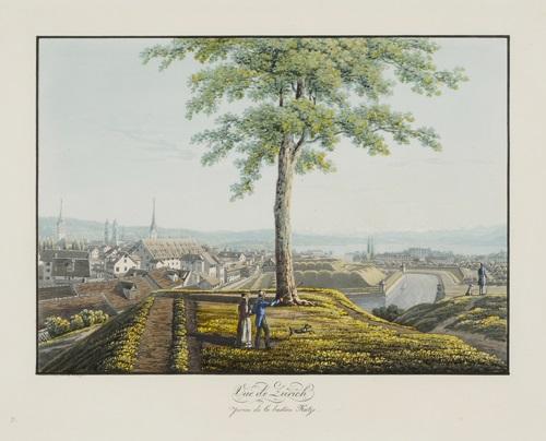 vue de zürich prise de la bastion katze by conrad caspar rordorf