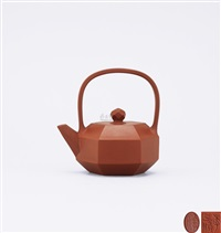 diamond shaped teapot with overhead handle by ji yishun