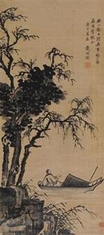 偏舟读书 (landscapefigure) by dai mingyue