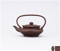 squat teapot with arc-like overhead handle by xu hantang