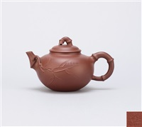 teapot with bamboo shaped knob and handle by ji yishun