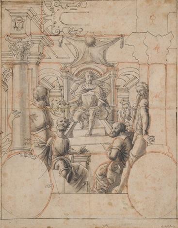 thronender antiker herrscher aietes könig von aia kolchis  by anonymous 15