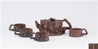 stump shaped teapot with eagle knob by jiang yan