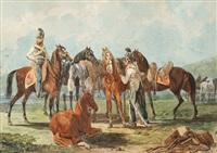 kavalleriepferde bei der rast by johann conrad gessner