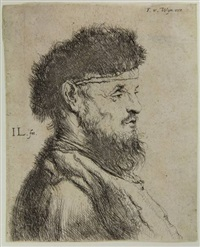 bust of an old bearded man, facing right by jan lievens