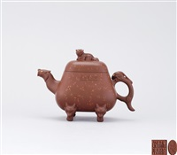 quadrilateral teapot with beast shaped knot, spout, thumb rest and foot by xu hantang