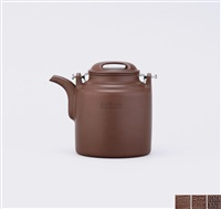 teapot of barrel-shape with ox-snout cover by xu hantang