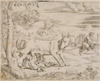 romulus und remus mit der wölfin (after giulio romano) by battista angolo del moro