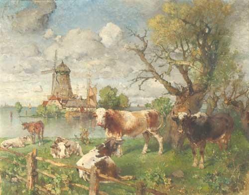 flußlandschaft mit windmühle und weidenden kühen by paul burmeister