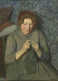 portrait eine strickenden, jungen frau by ernst eimer