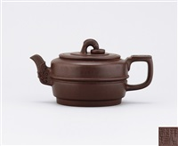 teapot with jade pattern knob, spout and thumb rest by zhou guizhen