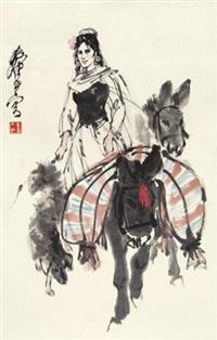 赶驴图 镜心 设色纸本 by huang zhou