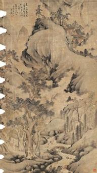 卧桥听泉图 立轴 设色纸本 by huang daozhou