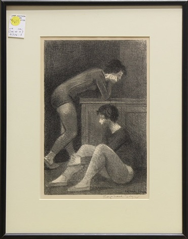 young woman drying herself and young dancers (2 works) by raphael soyer