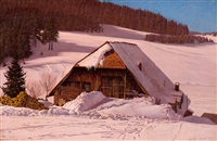 schwarzwaldhaus im schnee by hermann dischler