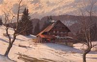 winterabend im schwarzwald by hermann dischler