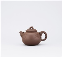 teapot with designs of grapes and squirrel by jiang yihua
