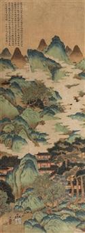策杖访友图 立轴 设色绢本 by ma yuan